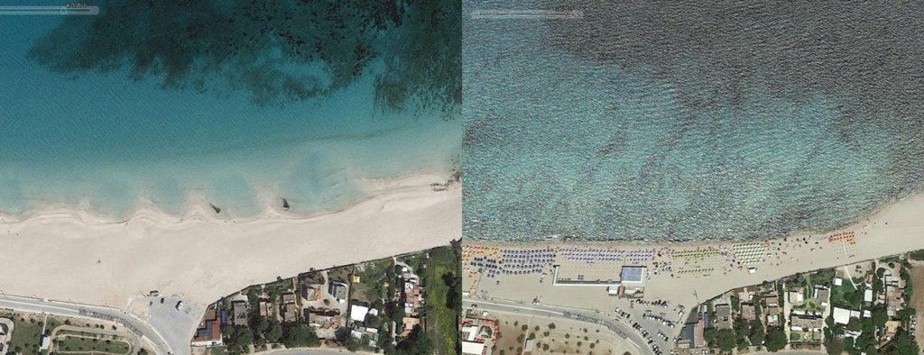 il confronto tra la spiaggia di San Vito Lo Capo nel 2013 (a sinistra) e nel 2017 (a destra). fonte larepubblica.it