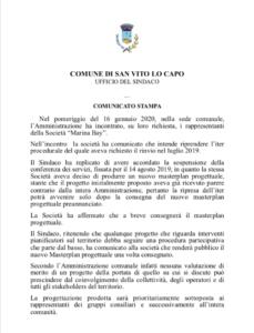 comunicato del sindaco di San Vito LO Capo - No Marine Resort